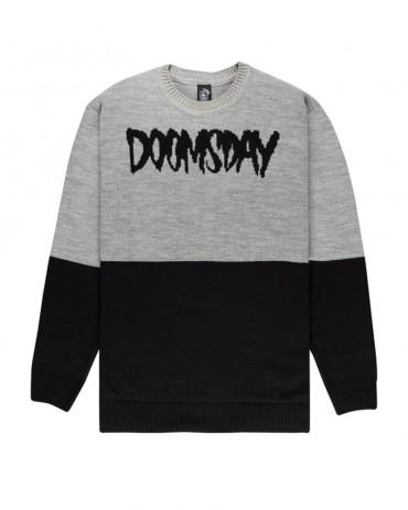 DOOMSDAY - KNIT CREWNECK 2TONE BLACK GREY
