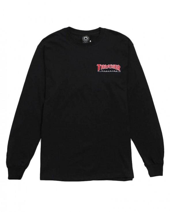Thrasher Magazine Long Sleeve Embroidered T-shirt Black