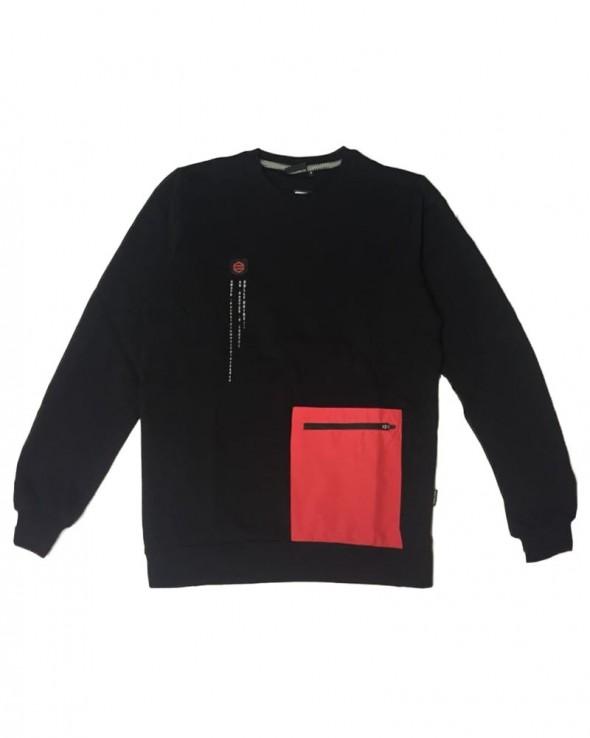 DOLLY NOIRE Pocket Crewneck Black & Red