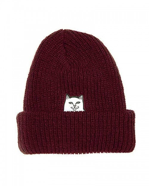 RIPNDIP Nermal Ribbed Beanie Burgundy