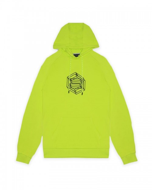 DOLLY NOIRE Logo Wireframe Hoodie Acid Green