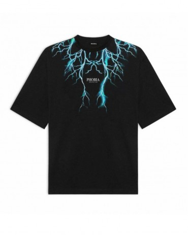 PHOBIA Blue Lightning Black T-shirt