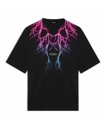 PHOBIA Pink Lightning Black T-shirt