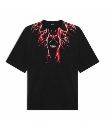 PHOBIA Red Lightning Black T-shirt