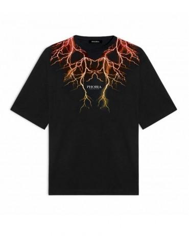 PHOBIA Orange and Yellow Lightning Black T-shirt