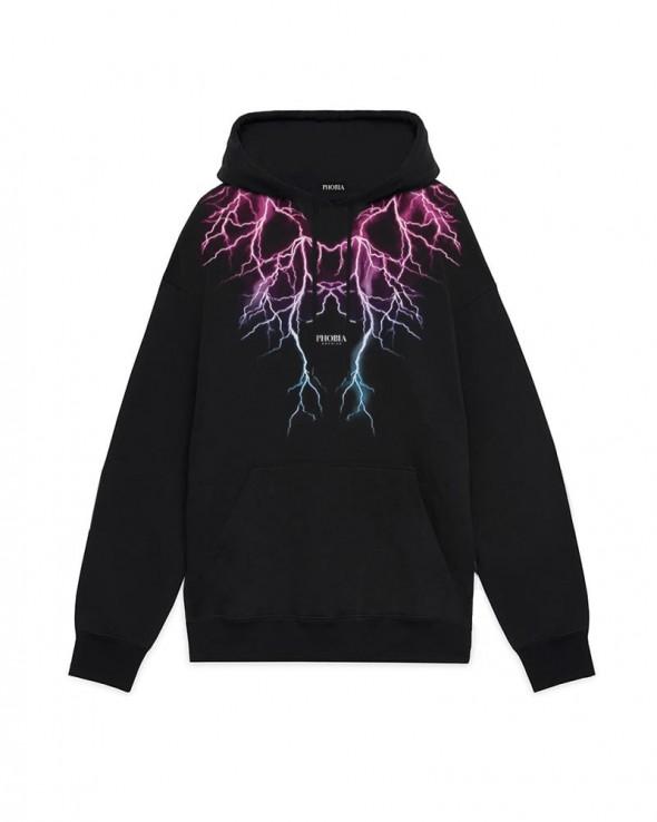 PHOBIA Pink Lightning Black Hoodie