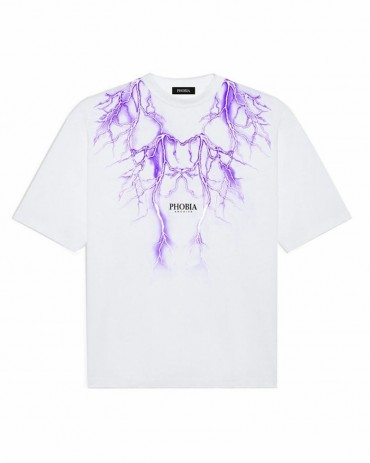 PHOBIA Purple Lightning White T-shirt