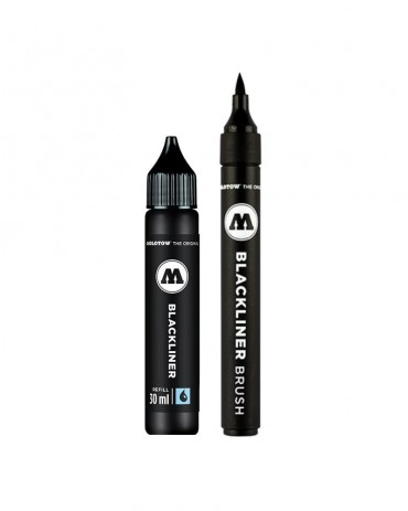 MOLOTOW - Blackliner Brush & Refill Marker Set Blister