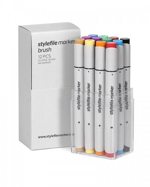 STYLEFILE Brush Marker Set A 12 Pz