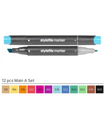 STYLEFILE Brush Marker Set A 12 Pz