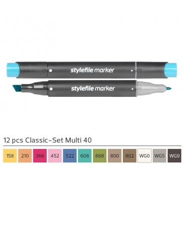 STYLEFILE Brush Marker Set 12 Pz Multi 40