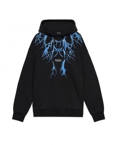 PHOBIA Light Blue Lightning Black Hoodie