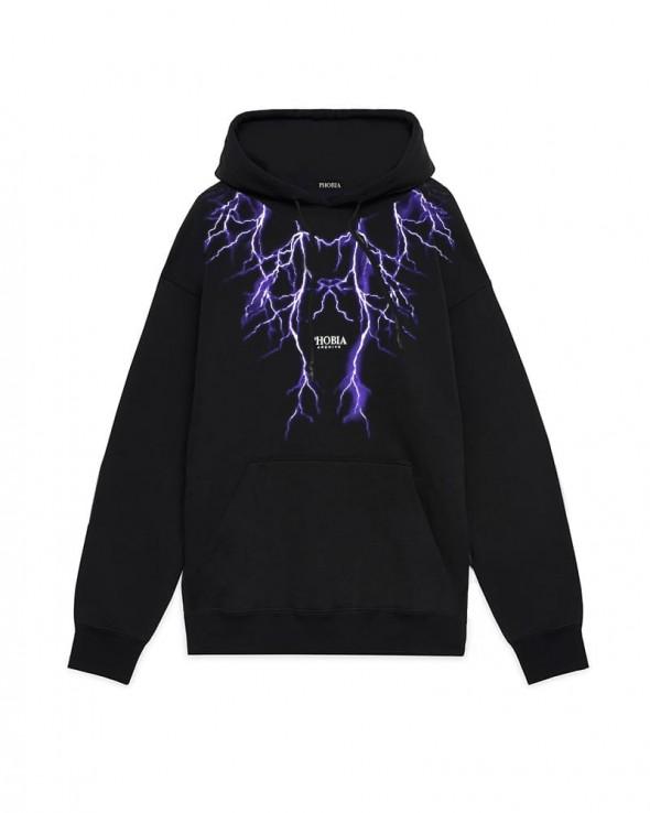 PHOBIA Purple Lightning Black Hoodie