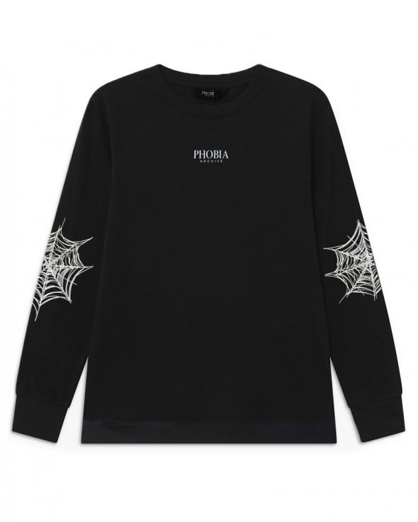 PHOBIA Cobweb Print Black Crewneck