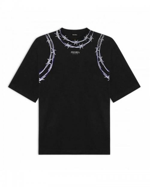 PHOBIA Purple Barbed Wire Black T-shirt