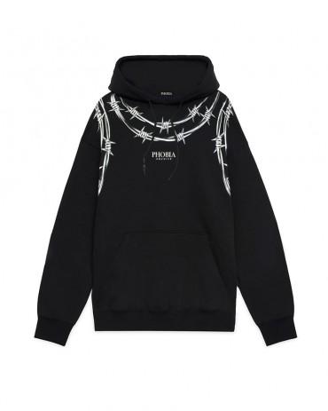 PHOBIA Barbed Wire Black Hoodie