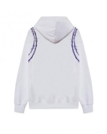 PHOBIA Purple Barbed Wire White Hoodie