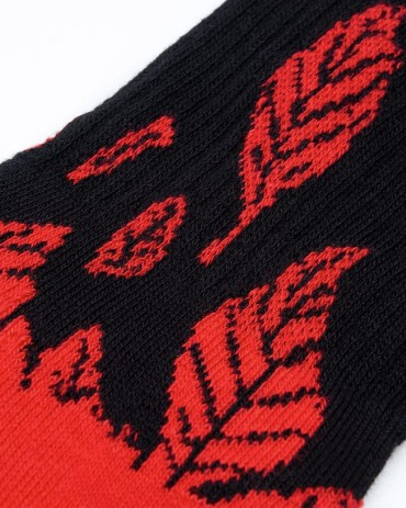 DOLLY NOIRE Calze Woven Leaves Red