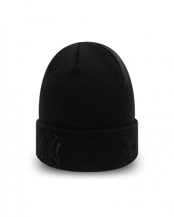 NEW ERA League Essentials New York Yankees Cuff Knit Beanie Black on Black