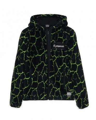 PROPAGANDA Texture Fur Crack Black / Lime Hoodie