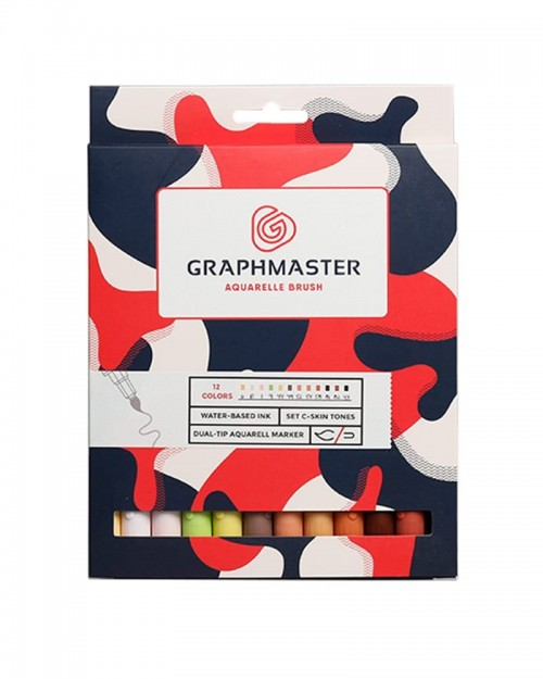 GRAPHMASTER Aquarelle Brush Twin Marker 12 Set - Skin