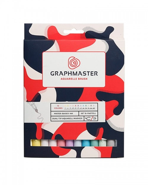 GRAPHMASTER Aquarelle Brush Twin Marker 12 Set - Pastel