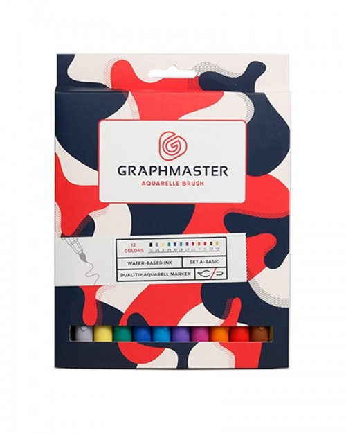 GRAPHMASTER Aquarelle Brush Twin Marker 12 Set - Base